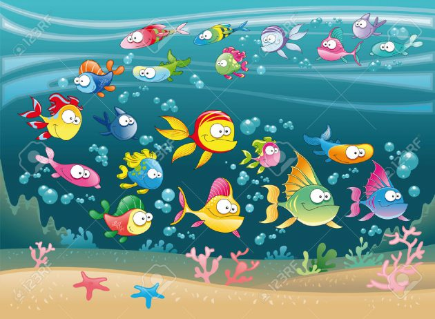 5539063-Family-of-fish-in-the-ocean-cartoon-and-vector-illustration-Stock-Vector