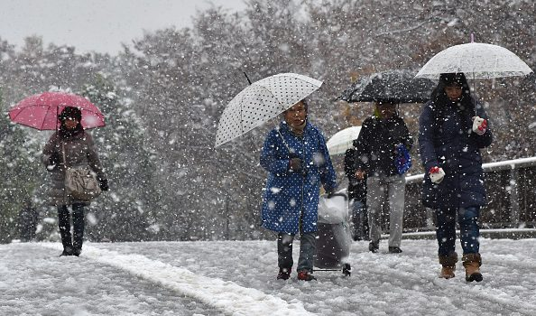 Pedestrians walk in snowfall in Tokyo on November 24, 2016.  Tokyo woke up on November 24 to its first November snowfall in more than half a century, leaving commuters to grapple with train disruptions and slick streets. / AFP / Kazuhiro NOGI        (Photo credit should read KAZUHIRO NOGI/AFP/Getty Images)