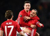 during the UEFA Europa  League Round of 32 first leg match between Manchester United and AS Saint-Etienne at Old Trafford on February 16, 2017 in Manchester, United Kingdom.