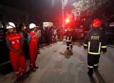 Fire truck leaves the spot as fire in Bangladesh Central Bank is already under control in Dhaka