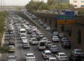 Cars stuck in heavy traffic are seen in central Riyadh