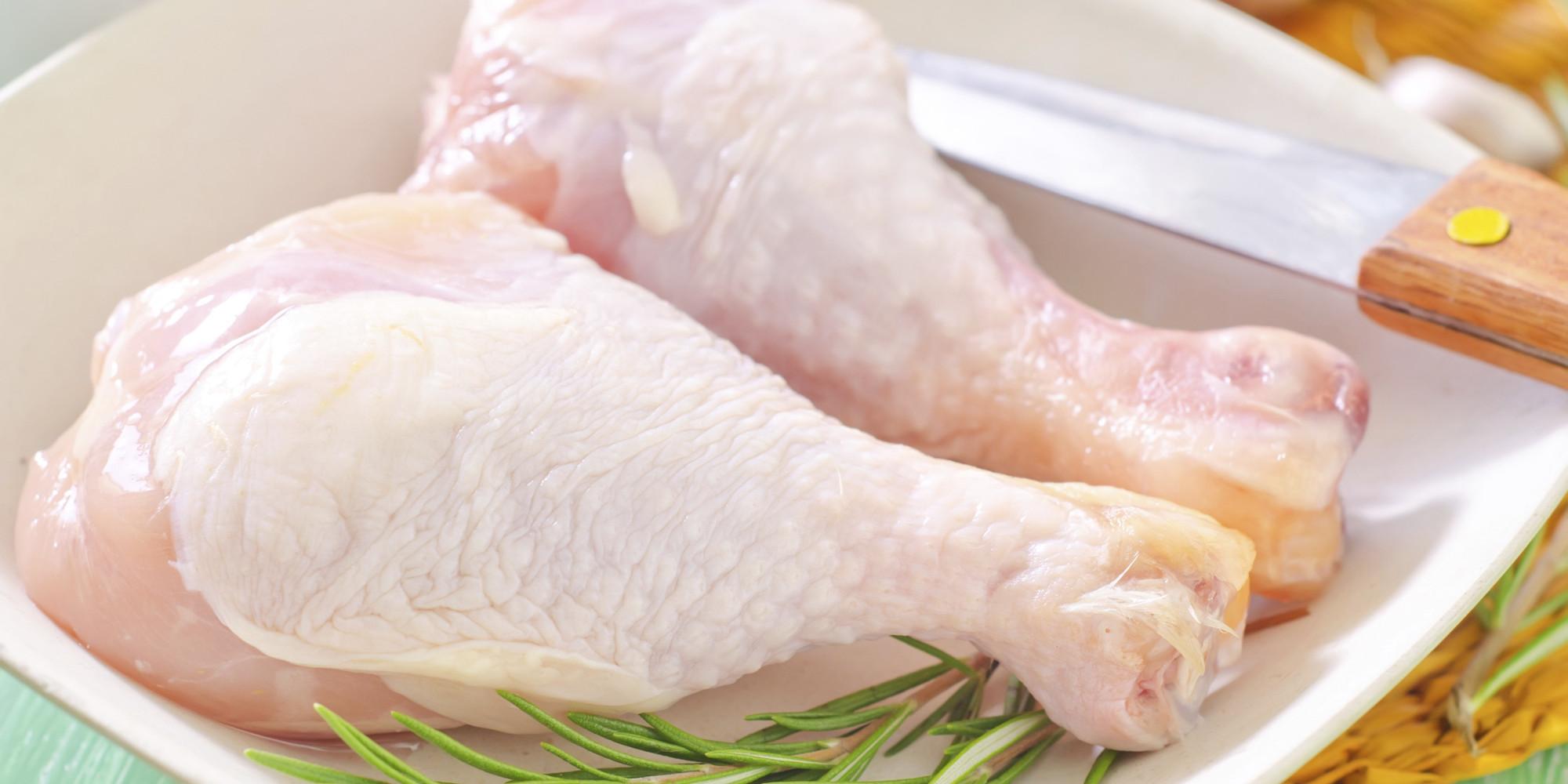 Raw chicken leg